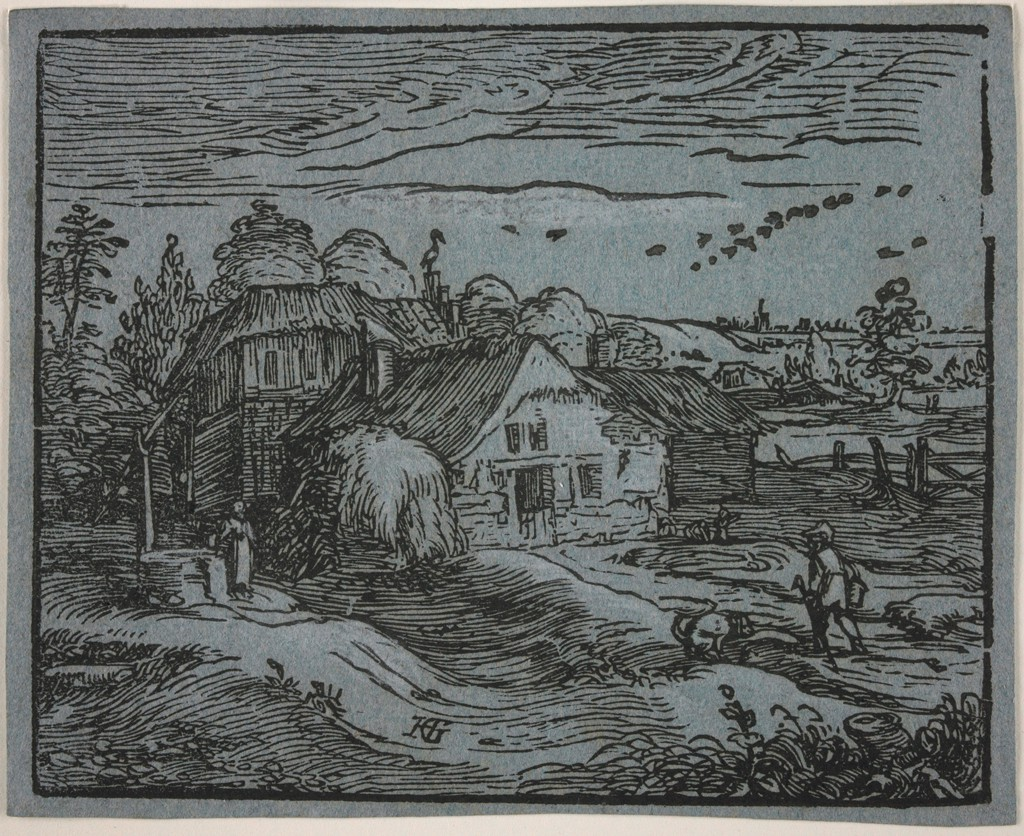 This small print shows a humble cottage at center, with a farmer and a defecating dog in the foreground and a woman at a well at left. There is a large stack of hay against the cottage, trees behind the cottage, and a flock of birds in the sky.