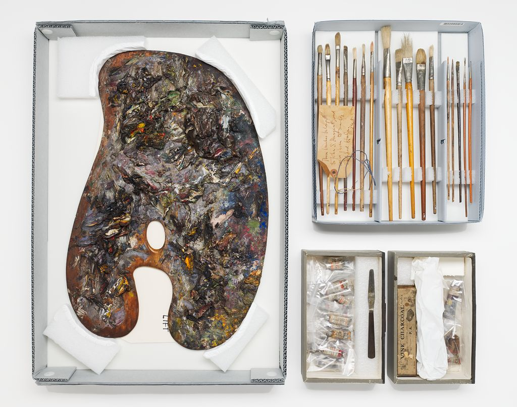 Besides Sargent's kidney-shaped palette, the collection includes his paintbrushes and tubes of paint.