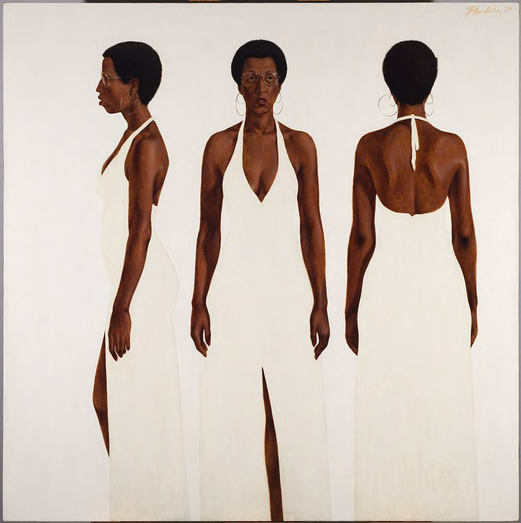 This painting depicts three different full-length views of a Black woman standing with her arms relaxed at her side. She wears hoop earrings, wire-rimmed glasses, and a long, white gown with a slit and a halter neck. Positioned against a matte white background, she stands as if seen, from left to right, in profile, from the front, and from behind.