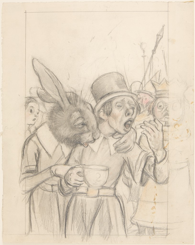 There are two images side by side. In the graphite drawing on the left, a rabbit dressed in human clothing has put his left hand around the left shoulder of a man with a top hat. The rabbit's head, in profile to the right, is furry, and his ears are standing up. The man is holding a teacup in his right hand and holds something in his left hand, which is raised toward his open mouth. A girl's head can be seen at the left behind the rabbit, and a king with a crown stands behind the man with a hat at the right. A vertical pencil line signifies the edge of the composition, cutting the king's figure in two; the right side of his body (beyond the vertical line) is sketched more lightly than the left.