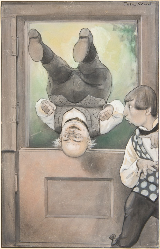 A smiling old man, wearing black pants, a white shirt, and a gray vest, is tumbling upside down through a doorway toward us. The bottom of the door is a closed panel, and the top of the door is open to the outside. To the old man's right is a young man who is moving away in surprise. The old man's head, upside down, is at the bottom of the opening in the door. He is bent at the waist, and his feet, with the soles of his shoes facing us, are above his head, as he flips through the door with his hands clenched. The young man's face is in profile to the left, with his mouth open as he sees the old man. His body is twisted so that his torso swivels to the left as his legs move to the right. He is wearing a vest with black-and-white polka dots.