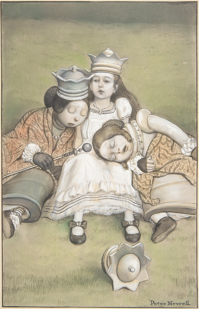 A little girl with a crown on her head is seated on the grass. She wears a white ruffled dress and her petticoat peeps out from her skirt. Two women lean against her on either side. The woman on the left, who is asleep on the girl's right shoulder, is wearing a crown, an orange patterned shawl, and black gloves and holds a scepter in her right hand. The woman on the right, who is asleep in the girl's lap, is wearing an orange patterned shawl, a beaded necklace, and black gloves. A crown is lying in the grass in the foreground.