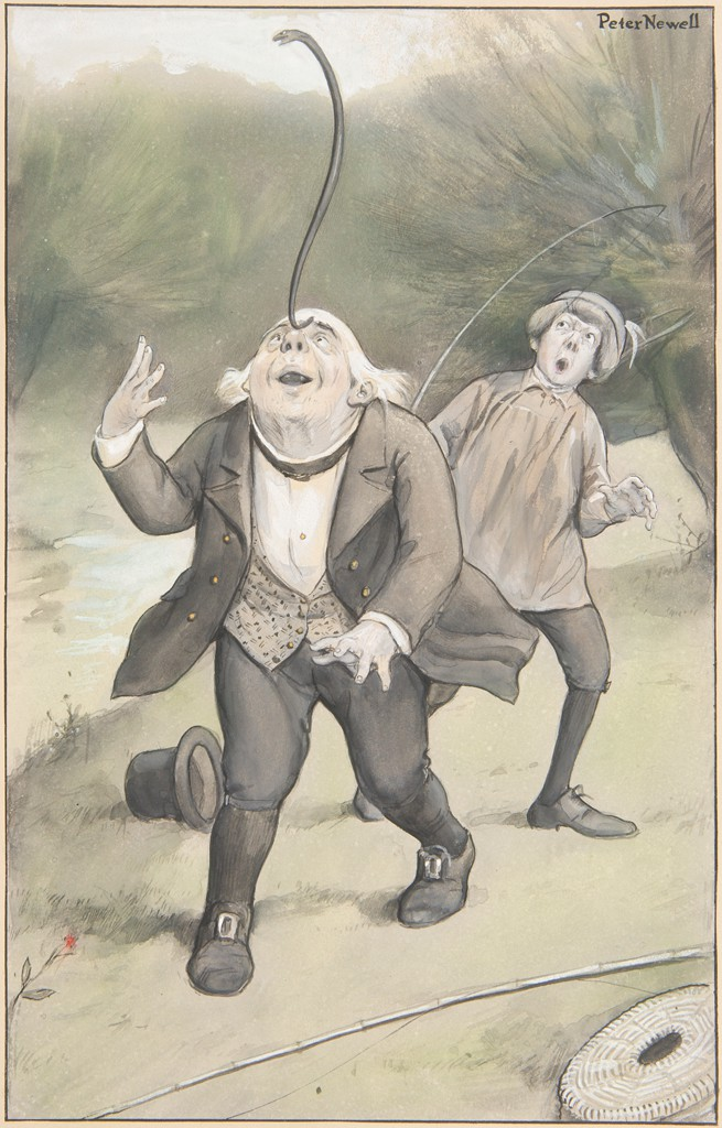 An old man with white hair is standing in the center of a landscape with a stream or river, balancing a slightly curved black eel on his nose. Just behind him, to the right, is a young man with a feathered hat, who is looking up at the eel with his mouth open and eyes widened in surprise. The old man's mouth is open, and he is looking up at the eel, while his right arm is bent up at the elbow and his left arm is stretched out in front of him as he balances the eel. The old man is wearing a jacket and patterned vest and buckled shoes. His brimmed hat lies on the ground at the left. The young man is holding a fishing rod. Another rod and an oval woven basket are on the ground at the lower right.