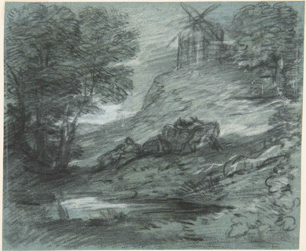 This landscape drawing shows a hilly terrain, with a pond in the foreground and a windmill in the background. Trees and foliage frame the landscape at either side. The lovers and packhorses are loosely drawn in the center of the composition.