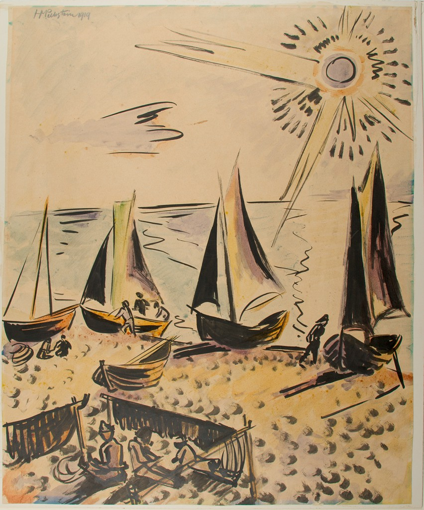Five small sailboats are pulled up on a sand beach; four have vertically extended masts, three with open sails. Small figures are situated along the horizontal shoreline. The lower left corner includes three figures sitting or lying down next to draped fabric. In the upper right corner, long black lines and short strokes radiate from a circular representation of a sun.
