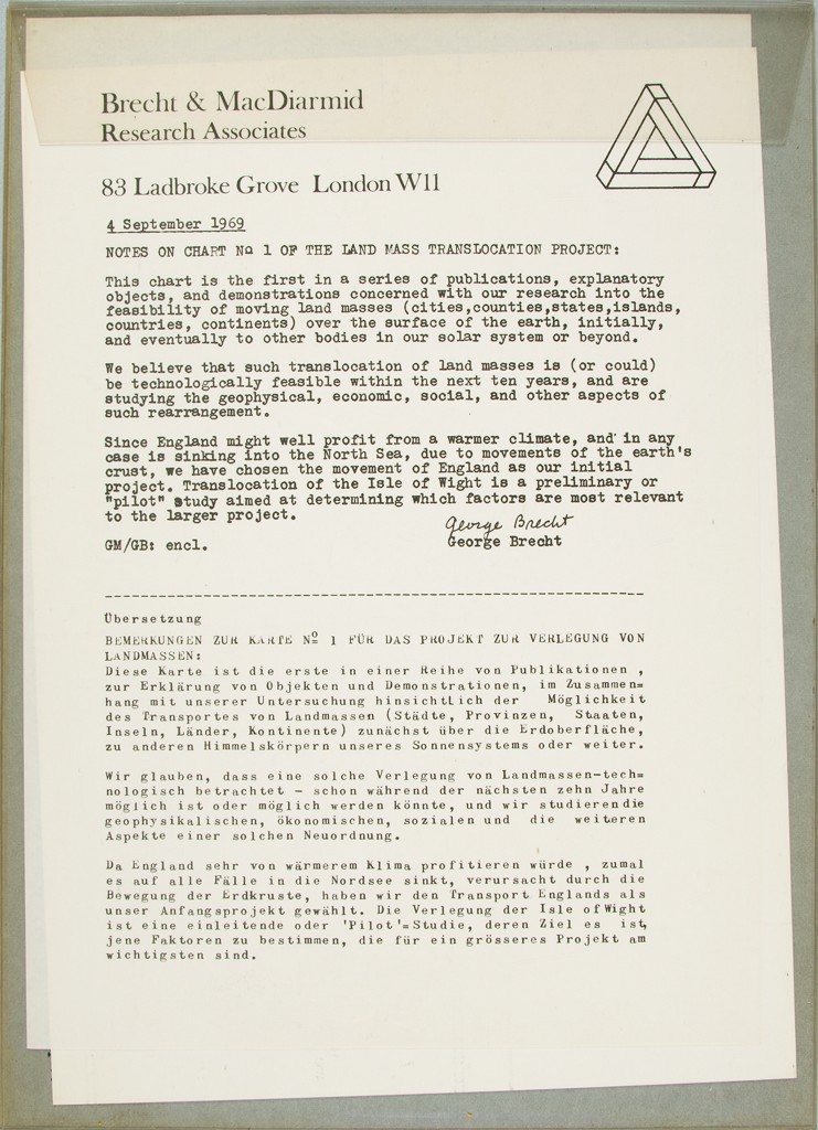 A transparent PVC mailer contains two sheets of business stationery with black typewritten text in English and German.