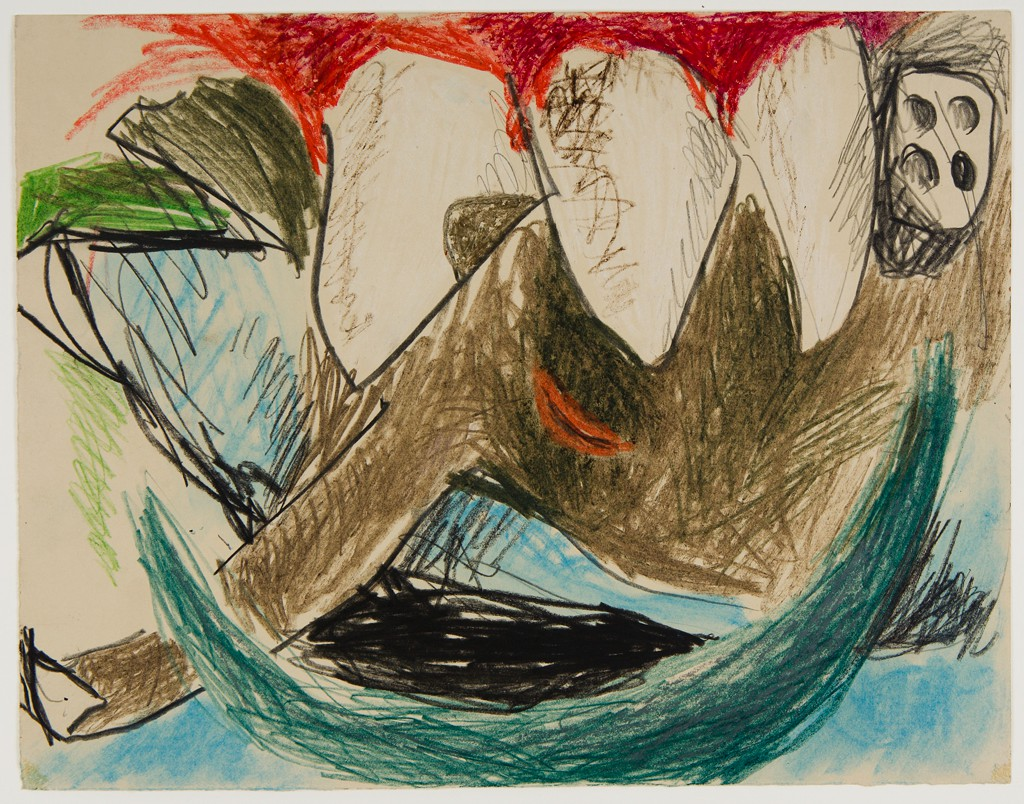 This abstract drawing in a horizontal format presents a row of white, teeth-like shapes protruding from a swath of red and plunging into a brown biomorphic form. The image also features a teal sickle that sits on the bottom edge, a form that resembles a white die showing four pips in the upper right corner, and interlocking shapes in light blue, green, and red.