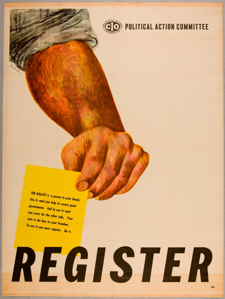 "A tanned, muscular arm with rolled-up sleeve holds a yellow paper with text urging the viewer to vote. Below the arm in bold lettering is the word ""Register."" At top right is the CIO logo and the words ""Political Action Committee."""