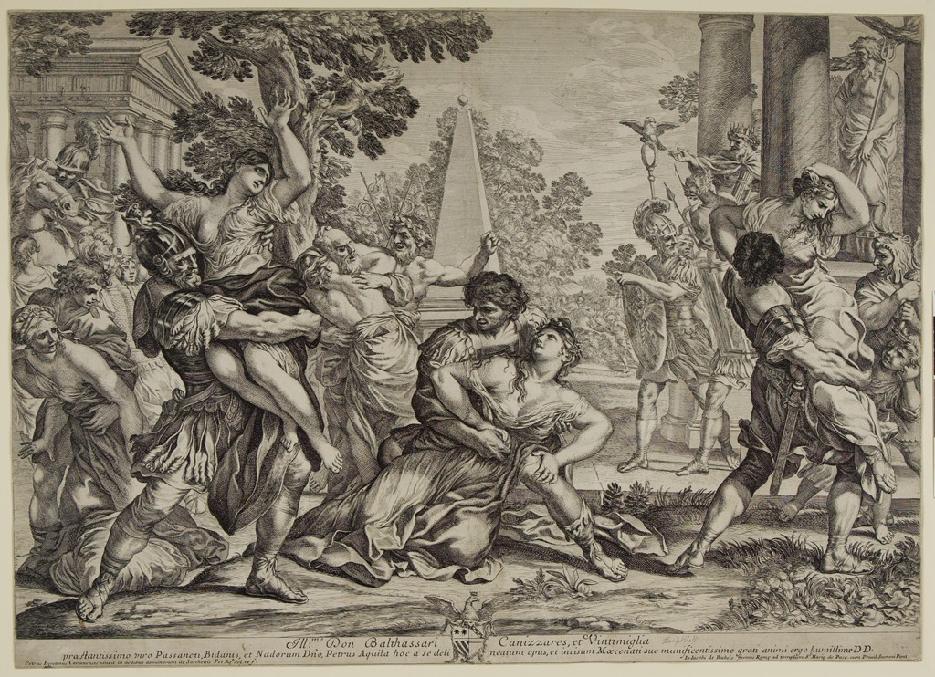 This black and white print shows a struggle of men and women against the backdrop of trees and buildings with columns. In the foreground, three men in armor lift up or grasp women in disheveled clothing. The woman on the left, lifted high, raises her arms. The one in the center is on her knees and presses her hands down on a hand and a knee of the man holding her. The woman on the right, lifted up from the ground, has one hand placed on her inclined head, the other on her opponent's shoulder. The middle ground depicts more armed men and a king seated among the columns of a building on the right, and a horseman and more women on the left. A temple and a slender pyramid appear in the background.