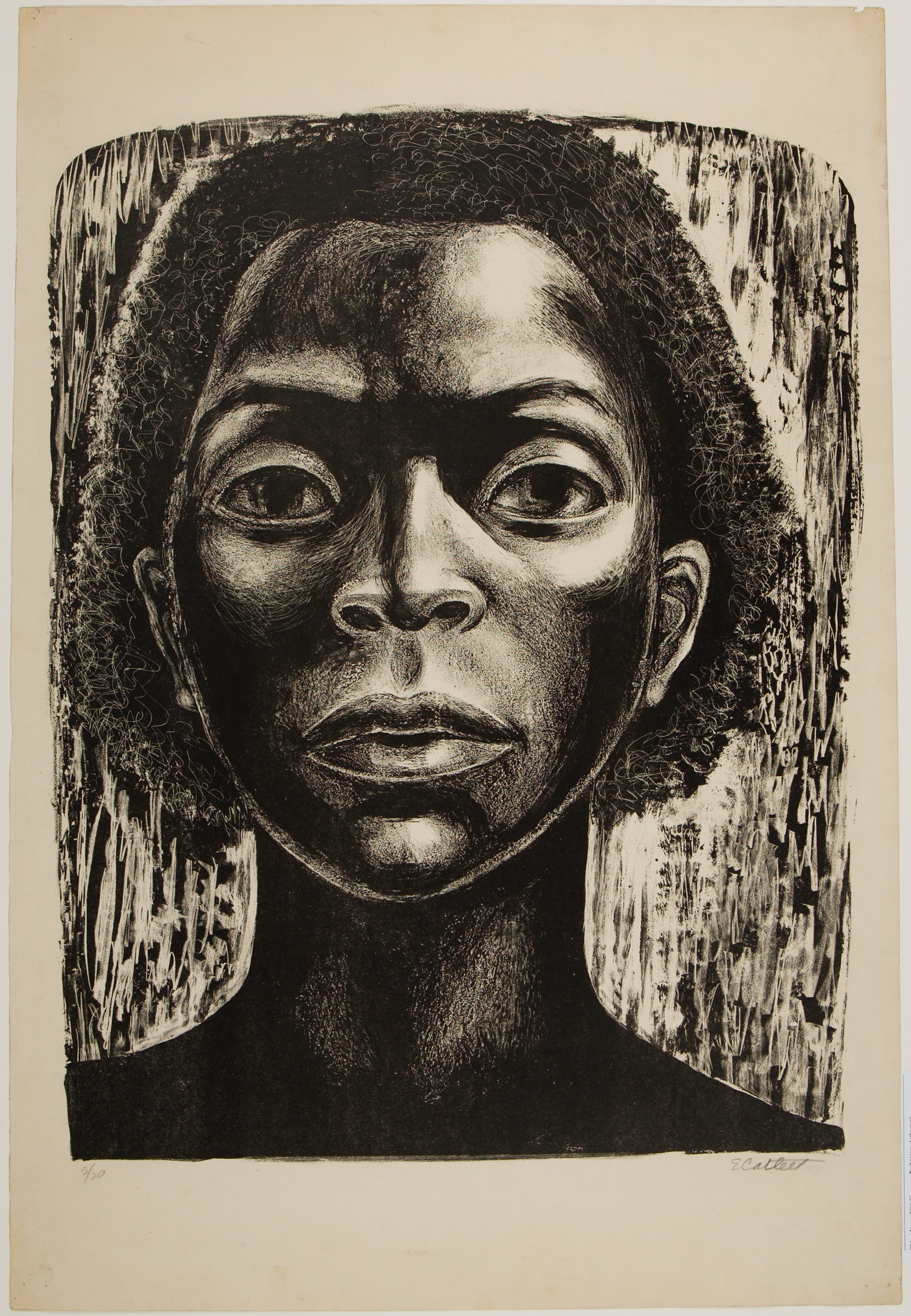Thislithograph in black ink on cream paper presents a vertically aligned portrait of a young Black woman, showing her face framed by chin-length hair, her neck, and her upper shoulders. Her eyes are wide open. The face appears illuminated by bright light from above.