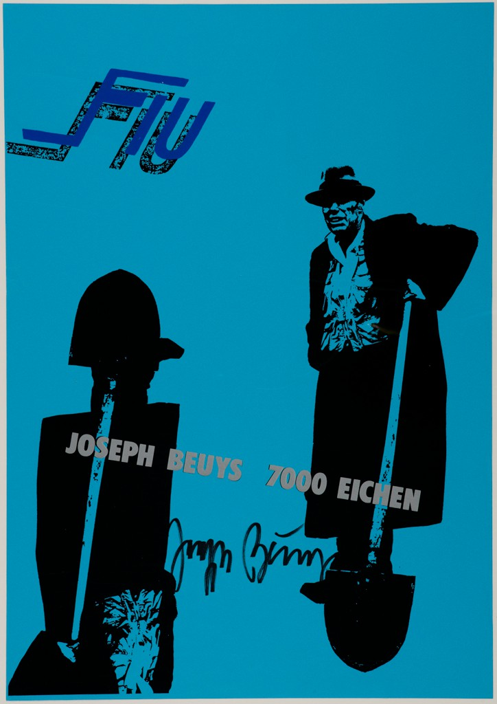"""This bright blue screenprint shows at right a figure in a hat and coat holding a shovel; at left is the same figure shown partially and upside down. The text reads """"Fiu"""" above and """"Joseph Beuys 7000 Eichen"""" across the middle. A signature is in the center."""