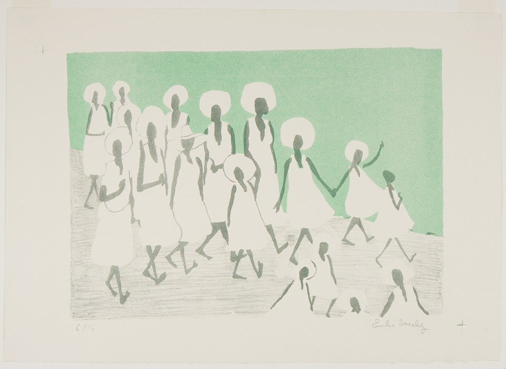 """There are two images side by side. The image on the left is a lithograph depicting a group of Black female figures in white dresses and bare feet walking from left to right. The figures are rendered using flat, abstract white and dark gray forms on a mint green background. Though most of the figures are wearing their hair in round Afros, one figure wears a sunhat on her head. Two of the figures hold hands. The print is signed """"Emilio Sanchez."""" The image on the right is a photograph of three Latinx girls dancing in unison as they lead a street parade. Each girl wears a black, flared uniform dress with a white border along the hem of the skirt and a gold braid around their right shoulder. In the background, members of a marching band wearing street clothing follow them. On either side of the street, spectators walk alongside the parade. At the very back, individuals carry colorful flags of various nations."""