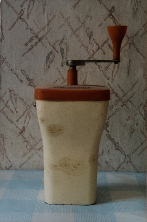 A color photograph shows at center a beige food grinder with a red lid and handle. The grinder is stained in several places. It is on a light blue-and-white checkered tablecloth and casts a shadow to the right. Behind it is worn-looking beige wallpaper with brown diagonal crisscross hatching.
