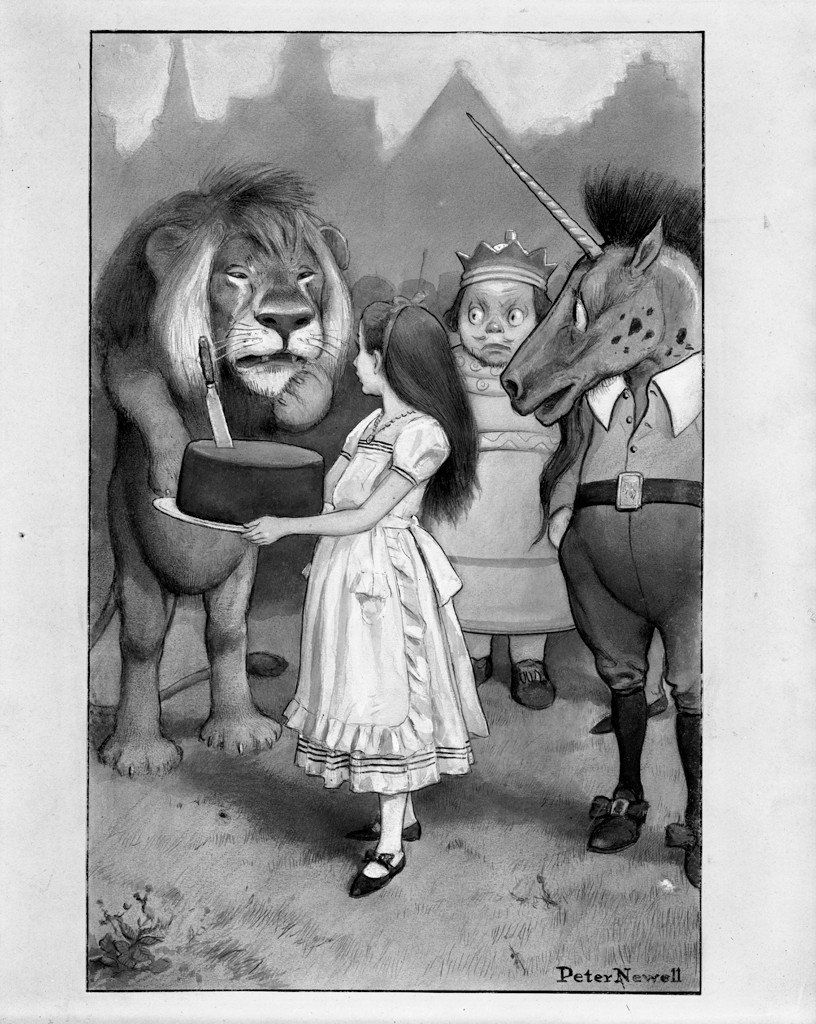 In this black-and-white drawing, a lion stands upright at the left. Next to him is a girl holding a cake with a knife in it, a king with a crown, and a unicorn wearing human clothing. The lion is looking at the girl, his left paw at his mouth. The girl is turned in profile looking toward the lion. She has long dark hair and is wearing a dress with a white ruffled pinafore and shoes with straps. The king is looking toward the lion with wide-open eyes. The unicorn is in profile to the left. He is wearing belted breeches and buckled shoes, and his right hand is in his pocket. The silhouette of a town with a church steeple can be seen in the background.