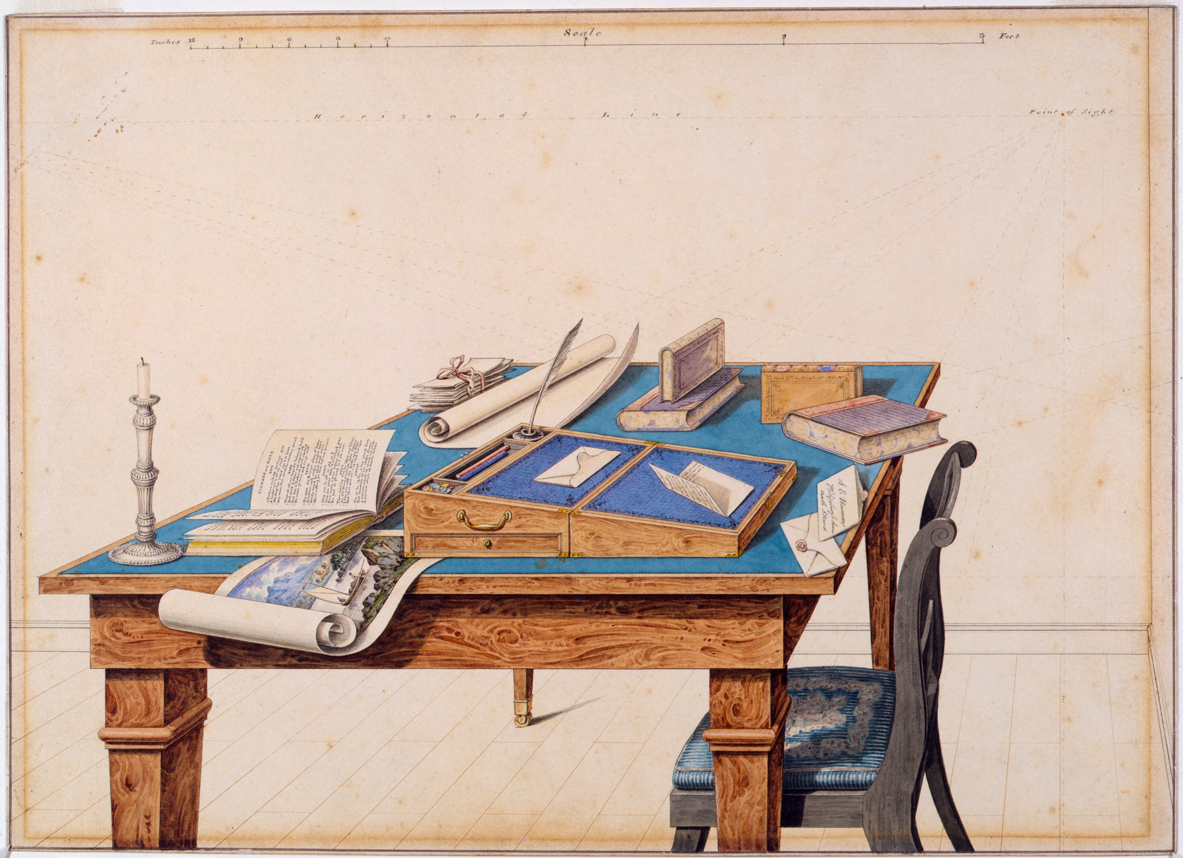 In the center of this drawing, there is a table with a blue top; to its right is a chair. The table is covered with books, a candlestick, and letters, along with a portable writing desk with a quill pen. A watercolor landscape unfurls off the edge of the table.