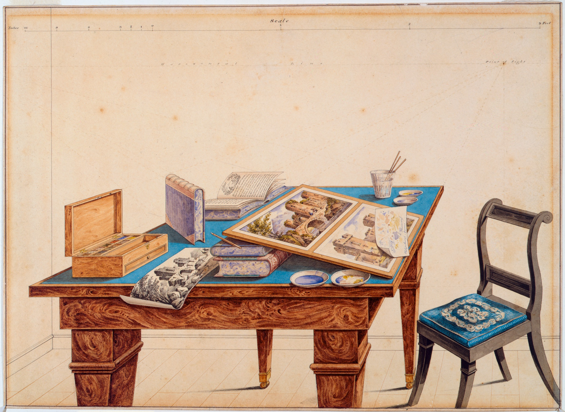 In the center of this drawing, there is a table with a blue top; to its right is a chair. The table is covered with books, a box of watercolors, small dishes, and a glass containing brushes. Also on the table are two watercolor landscapes attached to a board and another watercolor landscape.