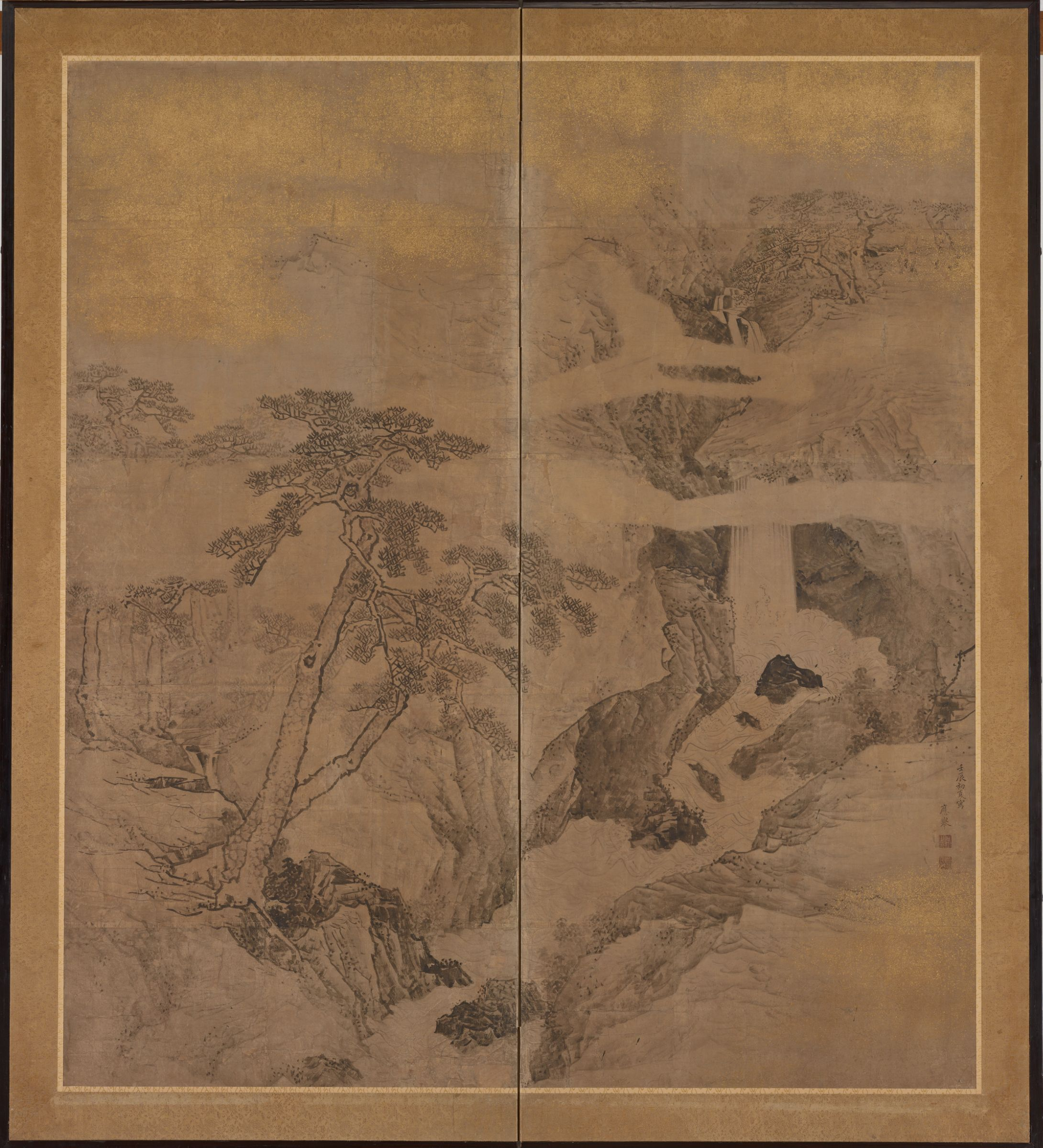 Maruyama Ōkyo, Waterfall and Pines, 1772, summer. Screen painting. Promised gift of Robert S. and Betsy G. Feinberg.