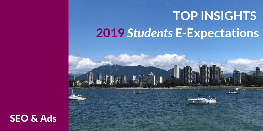 Top Insights on Search Engine Optimization and online advertising for Higher Ed from the 2019 Student E-Expectations Survey