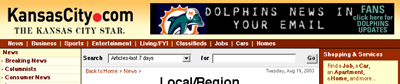 Screenshot of KansasCity.com, with ad to 'Click here for [Miami] Dolphins updates'
