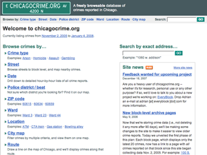 Screenshot of chicagocrime.org homepage