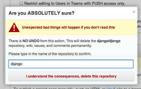 Screenshot of GitHub deletion step