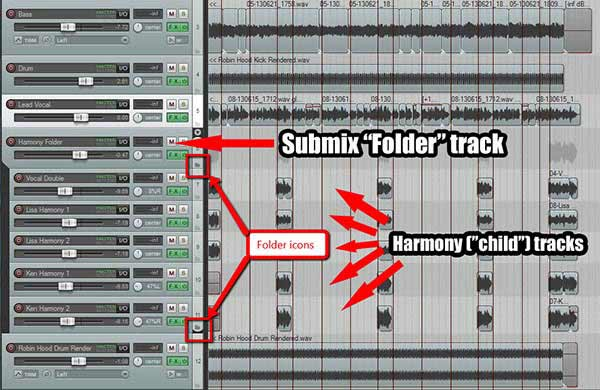 Reaper folder track for all harmony parts
