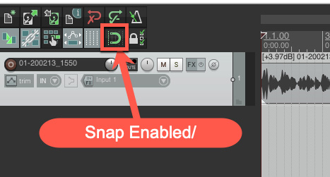 Reaper snap tool in toolbar