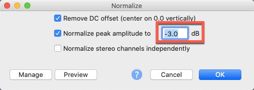 Normalize audio to -3.0 dB in Audacity