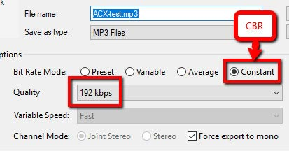 ACX mp3 requirements