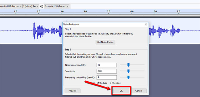 Apply Audacity Noise Reduction