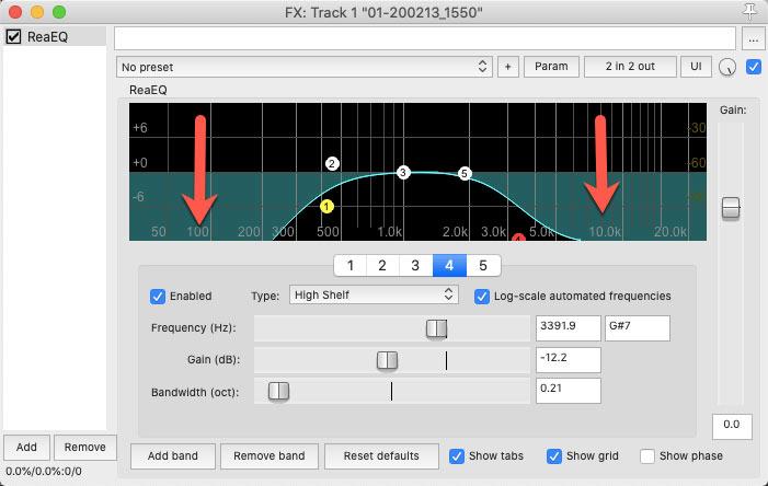 Reaper ReEQ setting for megaphone effect