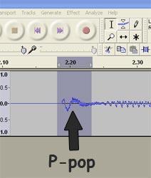 Plosive/p-pop in an audio waveform