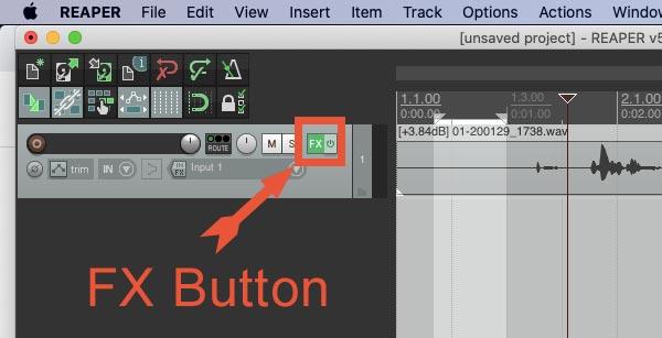 FX button in Reaper