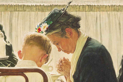 Saying Grace by Norman Rockwell, 1951, Oil on canvas