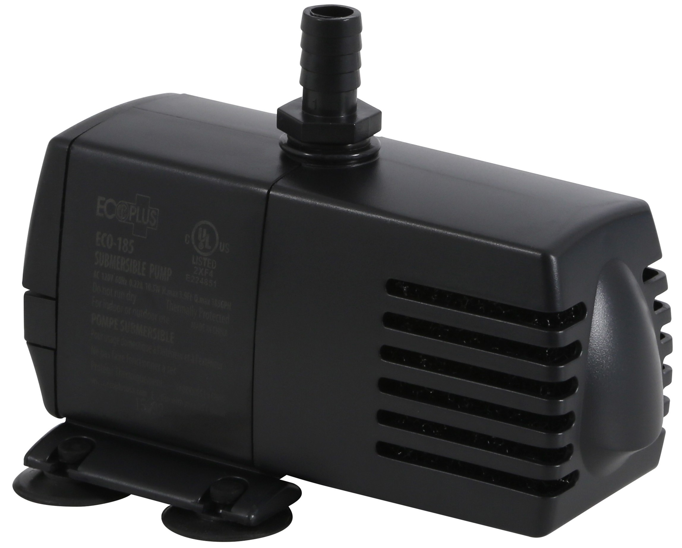 Ecoplus 185 submersible pump 158 gph for Inline hydroponic pump
