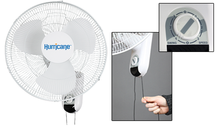 hurricane 16in wall mount oscillating fan image 1