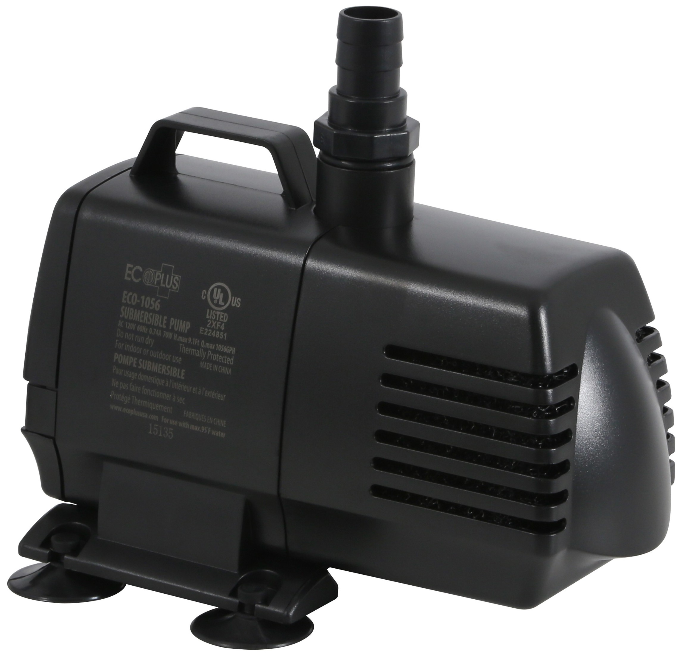 Ecoplus 1056 submersible pump 1083 gph for Inline hydroponic pump
