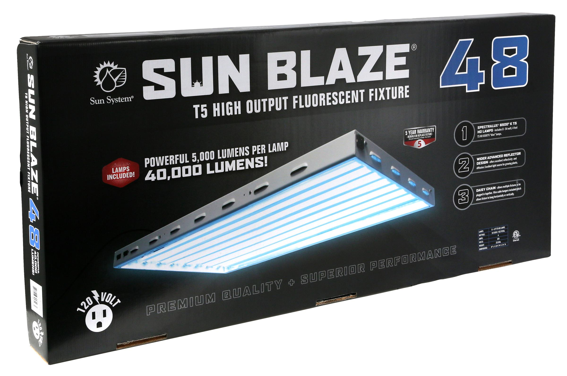 sun blaze 48 4 foot 8 lamp t5 fluorescent system. Black Bedroom Furniture Sets. Home Design Ideas