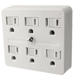 6 Outlet Grounded Adapter 125 Volt 15 Amp