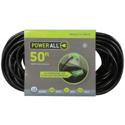 Power All 120 Volt 50 ft Extension Cord 3 Outlet w/ Green Indicator Light - 14 Gauge