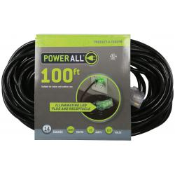 Power All 120 Volt 100 ft Extension Cord 3 Outlet w/ Green Indicator Light - 14 Gauge