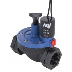 Hydro Flow NDJ Plastic Solenoid Valve 24V - 3/4 in Threaded w/ Flow Control