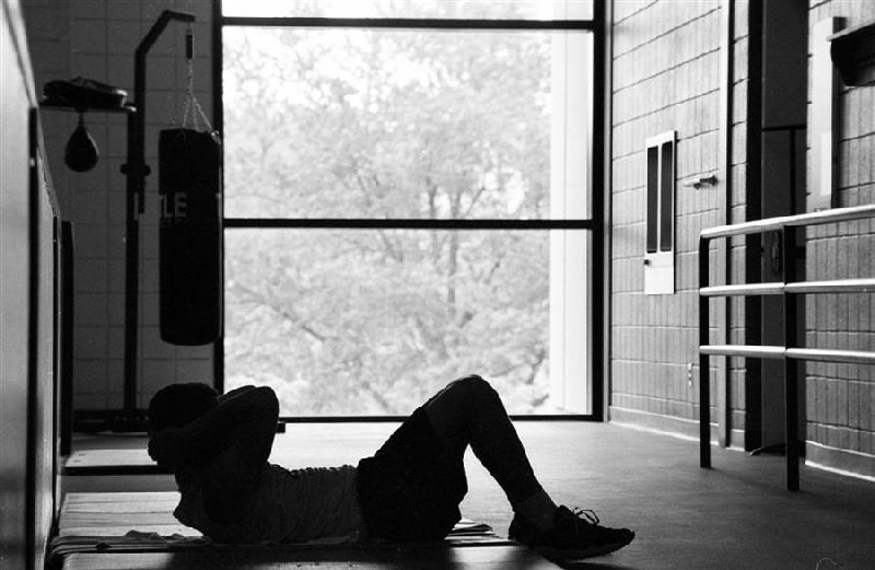 An IU student exercises at the SRSC, one of two free gyms for students on campus.