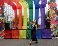 Local Bloomington performers show their support for the LGBTQ community at the Bloomington Pride Block Party Saturday afternoon on 4th street.