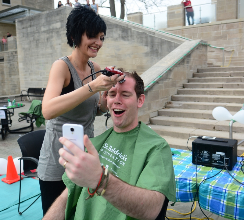 Shaved bald for charity