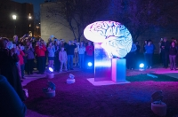 The brain sculpture outside of the Psychology building is illuminated for the first time in April 2015. The lights that illuminate the sculpture have a lifespan of 100,000 hours. The funds for the lighting design were donated by IU graduates David and Suzanne Pfenninger.