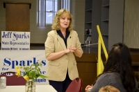 Indiana Superintendent of Public Instruction Glenda Ritz gives a speech at the Monroe County Fairgrounds on Sep. 15, 2014.