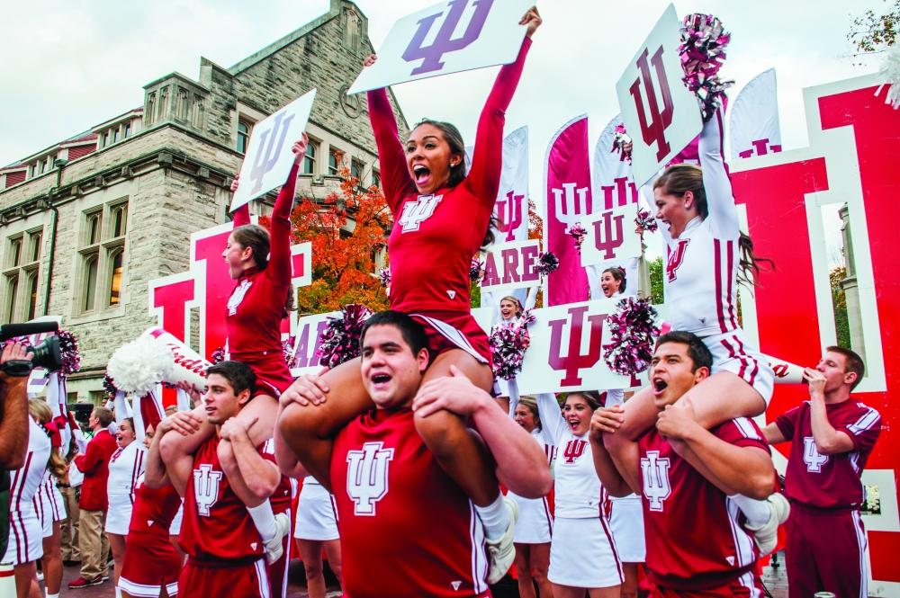 Cheerleading spirit shown at homecoming
