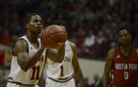 "Senior guard Kevin ""Yogi"" Ferrell shoots free throws during the game against Austin Peay Nov. 16 at Assembly Hall. The Hoosiers defeated the Governors 102-76."