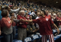Sophomore guard James Blackmon Jr. shakes hands with his dad James Blackmon Sr. before the game against Duke on Dec. 2 at Cameron Indoor Stadium in Durham.